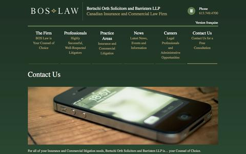 Screenshot of Contact Page boslaw.ca - Bertschi Orth Solicitors and Barristers LLP - Canadian Insurance and Commercial Law Firm - captured Oct. 5, 2014