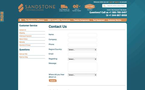 Screenshot of Contact Page Support Page sandstonetechnologies.com - Sandstone - Contact Us - captured Oct. 23, 2014