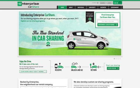 Screenshot of Home Page enterprisecarshare.com - Enterprise CarShare - Explore our Car Sharing Programs - captured Sept. 19, 2014