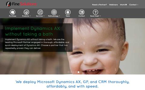 Screenshot of Home Page fine.com - Fine Solutions -                                        Microsoft Gold Partner Dynamics AX, GP, & CRM - captured Dec. 16, 2015