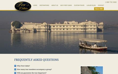 Screenshot of FAQ Page firstcabin.com - Frequently asked questions - First Cabin. Your Passport to Excellence. - captured Oct. 6, 2014