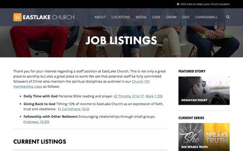 Screenshot of Jobs Page eastlakechurch.com - Jobs Archive | EastLake Church - captured May 14, 2017