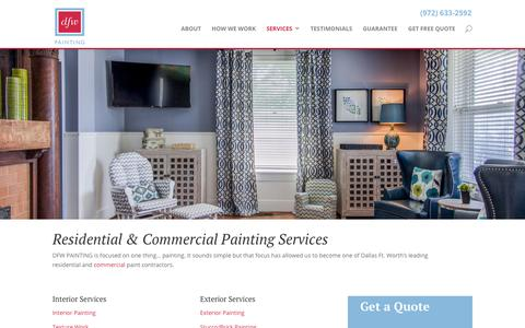 Screenshot of Services Page dfwpainting.com - Dallas Fort Worth Paint Company | Dallas Painting Company Services | Paint Contractors | DFW Painting - captured April 21, 2019