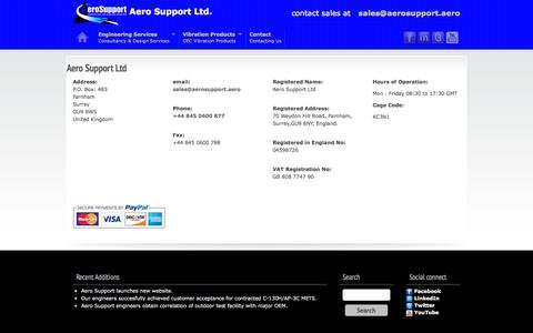 Screenshot of Contact Page aerosupport.aero - Aero Support Contact Information - captured Oct. 4, 2014