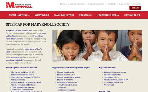 Screenshot of Site Map Page maryknollsociety.org - Site Map for the Maryknoll Fathers and Brothers - captured Nov. 27, 2016