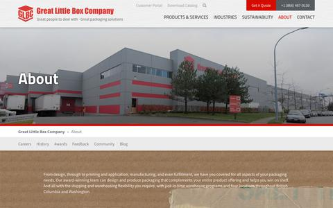 Screenshot of About Page glbc.com - GLBC   North Americas Leading Custom Corrugated Box Manufacturers - captured May 9, 2019