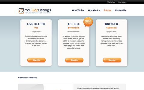 Screenshot of Pricing Page yougotlistings.com - You Got Listings - captured Sept. 17, 2014