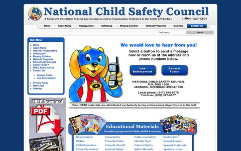 Screenshot of Contact Page nationalchildsafetycouncil.org - Contact Us - captured Oct. 27, 2014