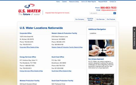 Screenshot of Locations Page uswaterservices.com - Locations - captured Oct. 3, 2014