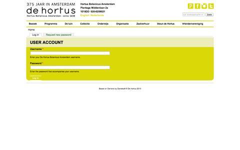 Screenshot of Login Page dehortus.nl - User account   De Hortus Botanicus Amsterdam - captured Oct. 3, 2014