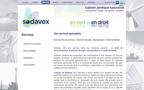 Screenshot of Services Page sodavex.com - Services - Sodavex Inc. | Cabinet juridique spécialisé - captured Nov. 3, 2014