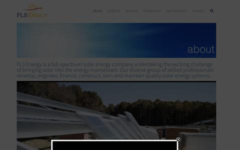 Screenshot of About Page flsenergy.com - FLS Energy | NC Solar Energy Developer | FLS Energy - captured Dec. 14, 2015