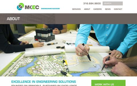 Screenshot of About Page mkec.com - Excellence in Engineering Solutions, Founded on Principle - captured Oct. 1, 2018