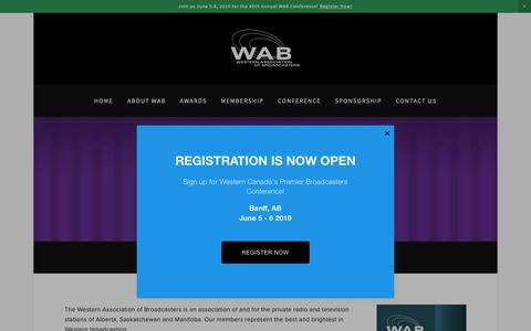 Screenshot of About Page wab.ca - About Us — Western Association of Broadcasters - captured Nov. 18, 2018