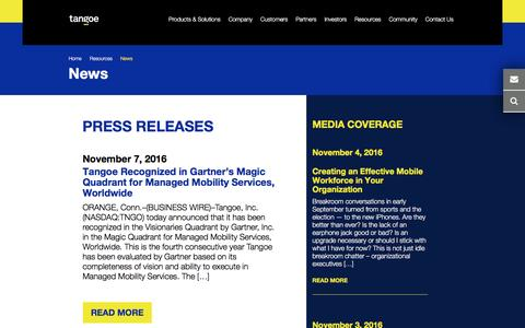 Screenshot of Press Page tangoe.com - Tangoe Press Releases News - captured Nov. 10, 2016