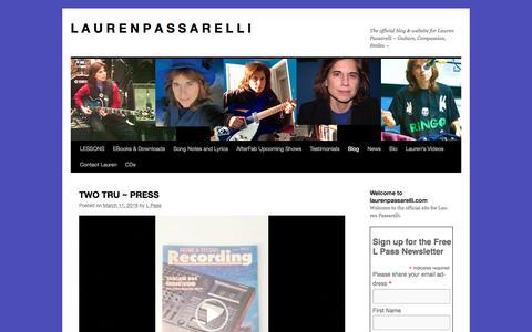 Screenshot of Blog laurenpassarelli.com - Blog page Lauren Passarelli Music | L A U R E N       P A S S A R E L L I - captured April 12, 2018