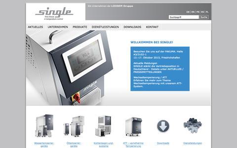 Screenshot of Home Page single-temp.de - Single Temp (Europa)   Single-Temperiertechnik - captured Sept. 19, 2015