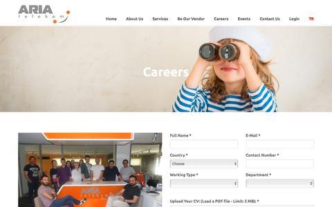 Screenshot of Jobs Page ariatelekom.com - Aria Telekom - captured Nov. 21, 2016
