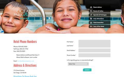 Screenshot of Contact Page oceanparkinn.com - Contact | Ocean Park Inn - captured Dec. 6, 2015