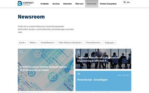 Screenshot of Press Page contact-software.com - Newsroom-CONTACT Software - captured July 9, 2017