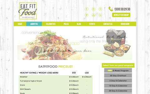 Screenshot of Pricing Page eatfitfood.com.au - Our Pricing | Eat Fit Food - captured Sept. 30, 2014