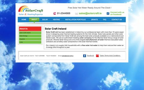 Screenshot of About Page solarcraft.ie - About Solar Craft Ltd Ireland - captured Oct. 7, 2014