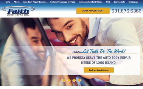 Screenshot of Home Page faithautoworks.com - Long Island Auto Body Repair Shop   Faith Auto Works Inc. - captured Aug. 10, 2018