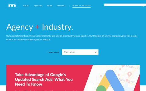 Screenshot of Press Page mason23.com - Agency + Industry | Mason, Inc. - captured Oct. 17, 2018