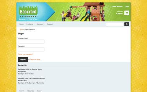 Screenshot of Login Page swingsetsonline.com - Account – Backyard Discovery - captured Nov. 3, 2014