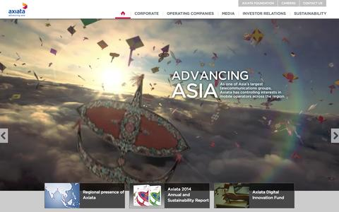 Screenshot of Home Page axiata.com - Axiata - captured July 16, 2015