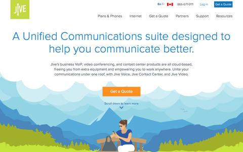 Screenshot of Products Page jive.com - A Unified Communications suite designed to help you communicate better. - Jive Communications Canada - captured May 14, 2017