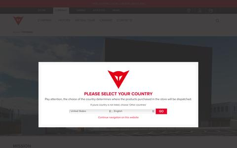 Screenshot of About Page dainese.com - Protective gear for motorcycle riding and other sports  - Dainese - captured July 31, 2016