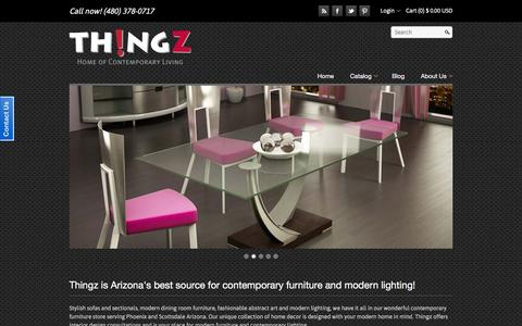 Screenshot of Home Page thingzcontemporary.com - Thingz Contemporary Furniture and Modern Lighting | Scottsdale, AZ – Thingz | Contemporary Living - captured Feb. 28, 2016