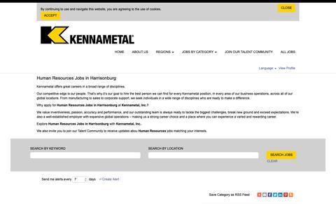 Screenshot of Jobs Page kennametal.com - Human Resources Jobs in Harrisonburg - captured May 5, 2019
