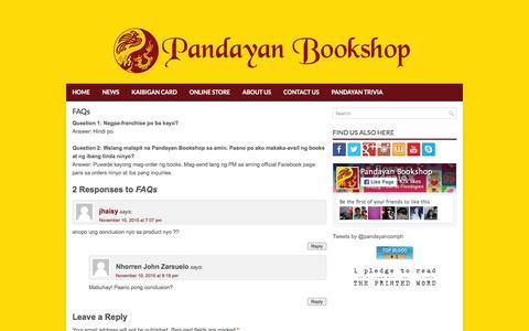 Screenshot of FAQ Page pandayan.com.ph - FAQs   Pandayan Bookshop - captured Jan. 25, 2016