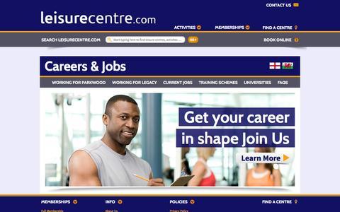 Screenshot of Jobs Page leisurecentre.com - Jobs Index - LeisureCentre.com - captured Oct. 22, 2014