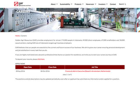 Screenshot of Jobs Page goldenagri.com.sg - Careers - Golden Agri-Resources - captured July 5, 2017