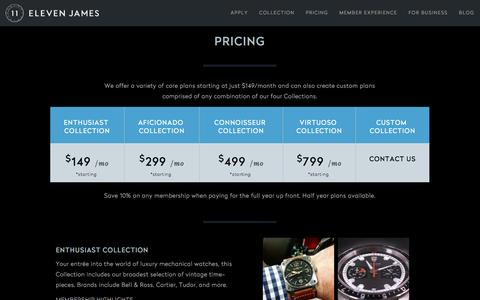 Screenshot of Pricing Page elevenjames.com - Eleven James | Membership Pricing - captured July 3, 2016