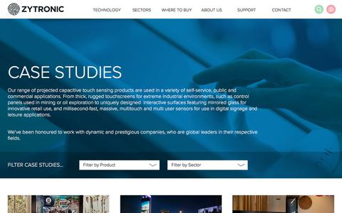 Screenshot of Case Studies Page zytronic.co.uk - Case Studies - Zytronic UK - captured Sept. 20, 2018