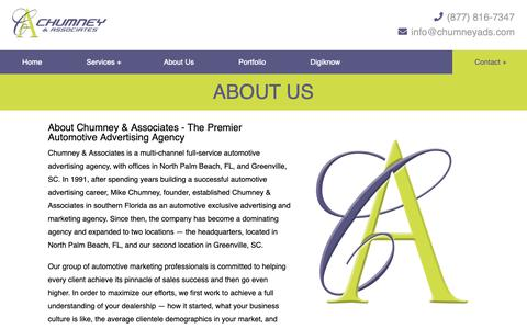 Screenshot of About Page chumneyads.com - About Chumney & Associates - The Premier Automotive Advertising Agency - captured Sept. 28, 2018