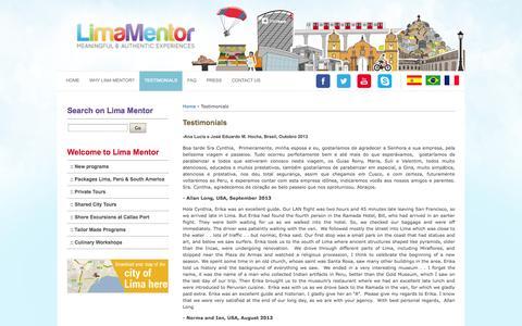 Screenshot of Testimonials Page limamentor.com - Testimonials | Lima Mentor Experiencias Autenticas Visitas Guiadas Lima Tours - captured Sept. 30, 2014