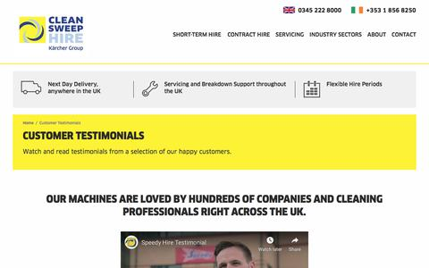 Screenshot of Testimonials Page cleansweephire.co.uk - Watch & Read our Customer Testimonials | Clean Sweep Hire - captured Nov. 13, 2019