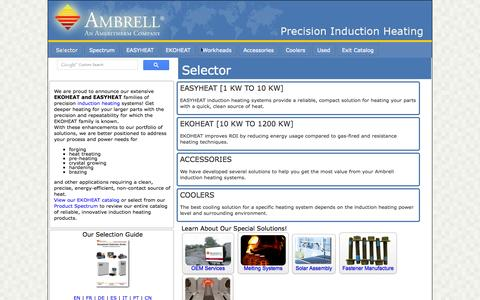 Screenshot of Products Page ambrell.com - Ambrell Product Selector - captured Sept. 19, 2014