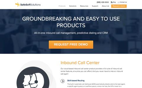Screenshot of Products Page safesoftsolutions.com - Products | SafeSoft Solutions Cloud Based Call Center - captured Sept. 19, 2014