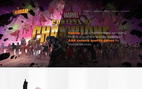 Screenshot of Home Page kabam.com - Home - Corporate Kabam - captured Sept. 19, 2017