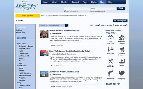 Screenshot of Blog afterfiftyliving.com - Blogs » The premiere after-fifty and baby boomer social networking destination - captured Oct. 4, 2014
