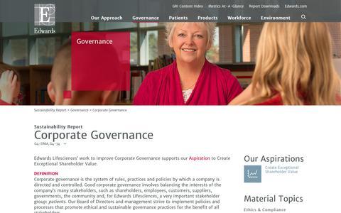 Edwards 2016 Sustainability Report   Corporate Governance
