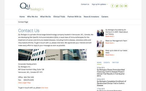 Screenshot of Contact Page qubiologics.com - Qu Biologics, a biotechnology company in Vancouver, Canada   Contact Us - captured Jan. 27, 2016