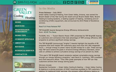 Screenshot of Press Page greenvalleycooling.com - In the Media | Green Valley Cooling and Heating - captured Feb. 10, 2016