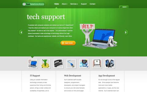 Screenshot of Home Page suntelesolutions.com - Sun TeleSolutions: Your IT Department - captured Sept. 30, 2014
